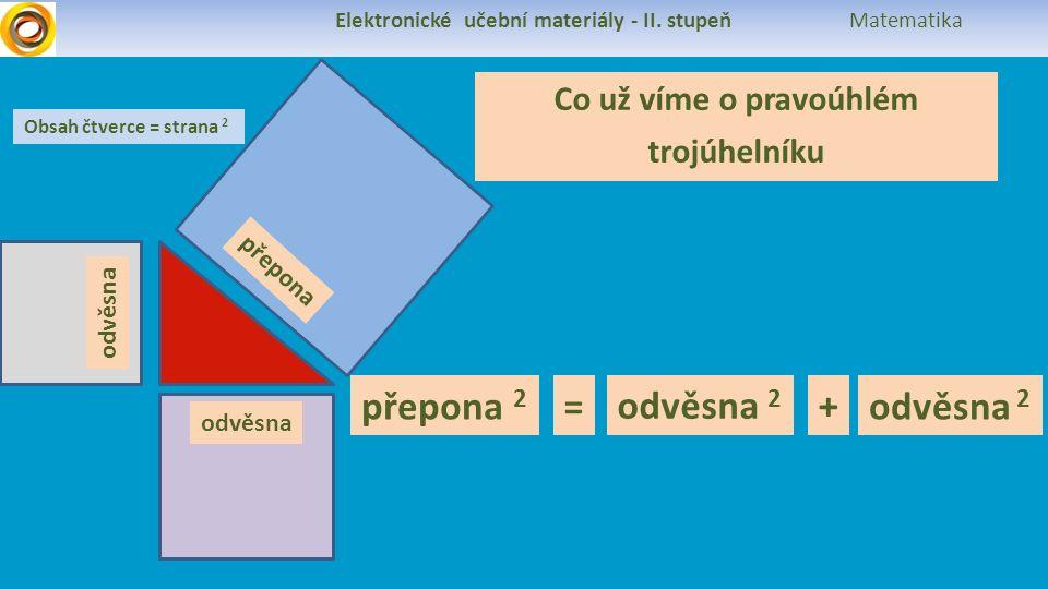 Elektronické učební materiály - II. stupeň Matematika Co už víme o pravoúhlém trojúhelníku přepona odvěsna Obsah čtverce = strana 2 přepona 2 odvěsna