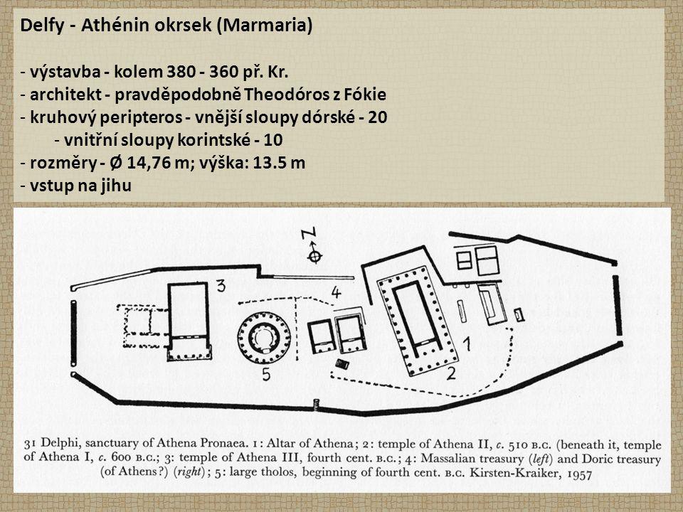 Delfy - Athénin okrsek (Marmaria) - výstavba - kolem 380 - 360 př.