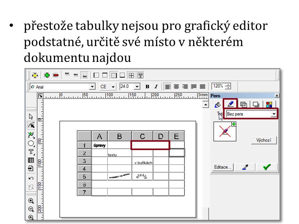 přestože tabulky nejsou pro grafický editor podstatné, určitě své místo v některém dokumentu najdou