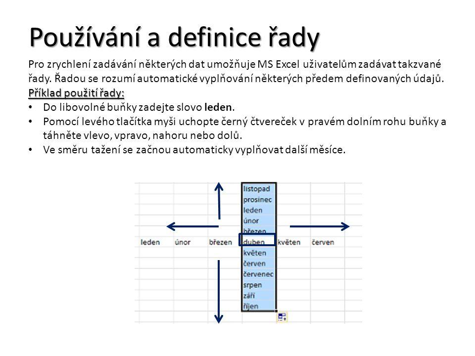 Používání a definice řady Pro zrychlení zadávání některých dat umožňuje MS Excel uživatelům zadávat takzvané řady.