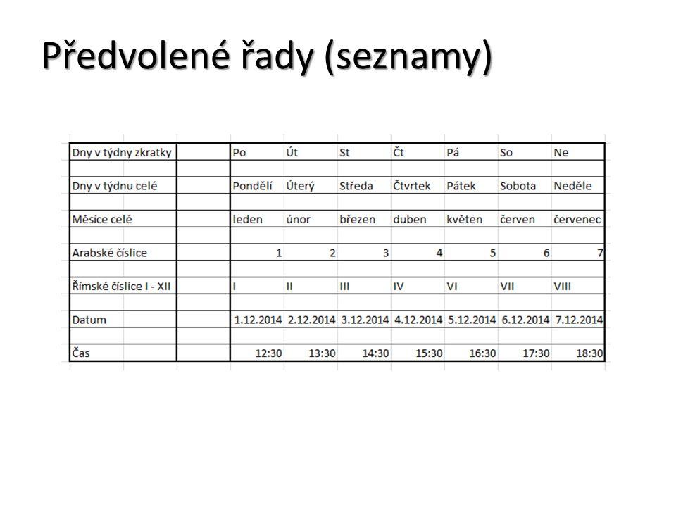 Předvolené řady (seznamy)