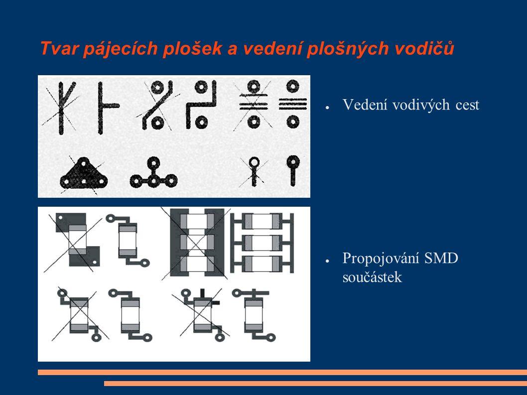 Tvar pájecích plošek a vedení plošných vodičů ● Vedení vodivých cest ● Propojování SMD součástek