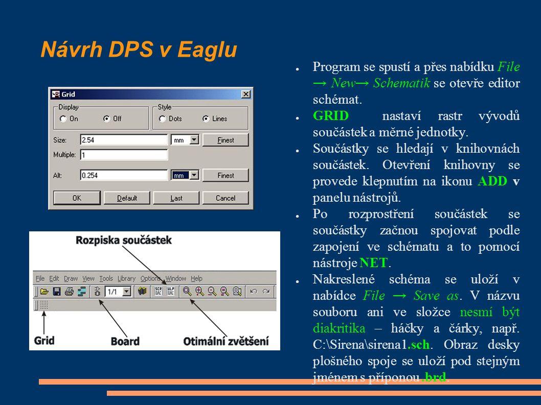 Návrh DPS v Eaglu ● Program se spustí a přes nabídku File → New→ Schematik se otevře editor schémat. ● GRID nastaví rastr vývodů součástek a měrné jed