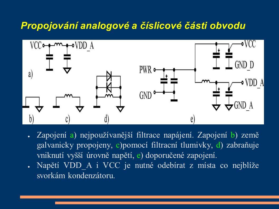 Propojování analogové a číslicové části obvodu ● Zapojení a) nejpoužívanější filtrace napájení. Zapojení b) země galvanicky propojeny, c)pomocí filtra