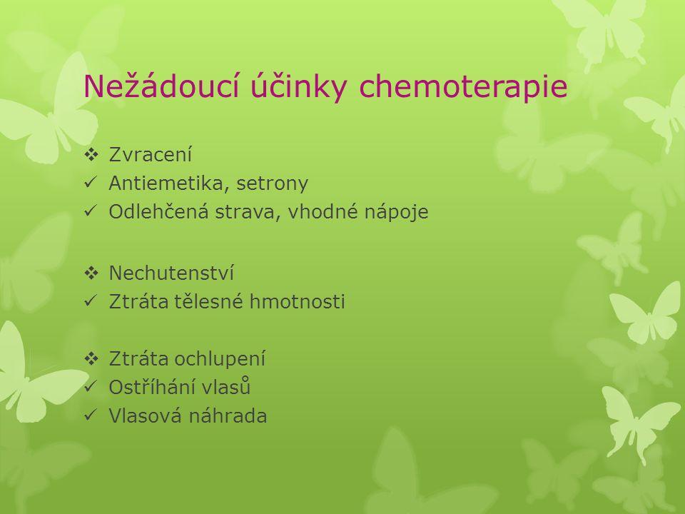 Nežádoucí účinky chemoterapie  Zvracení Antiemetika, setrony Odlehčená strava, vhodné nápoje  Nechutenství Ztráta tělesné hmotnosti  Ztráta ochlupe