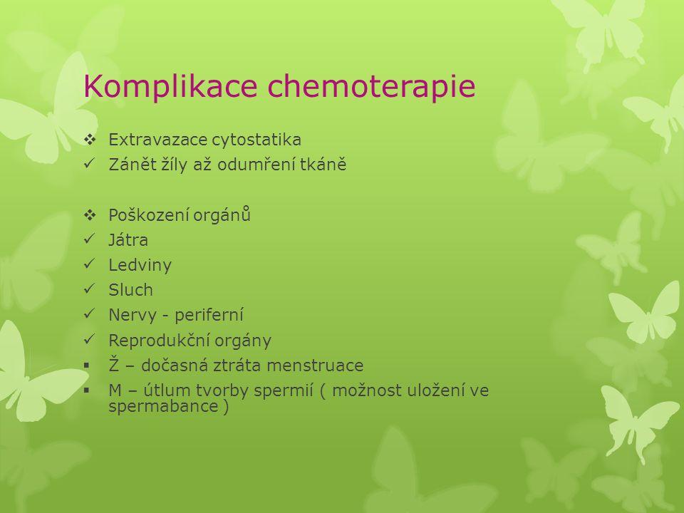 Komplikace chemoterapie  Extravazace cytostatika Zánět žíly až odumření tkáně  Poškození orgánů Játra Ledviny Sluch Nervy - periferní Reprodukční or