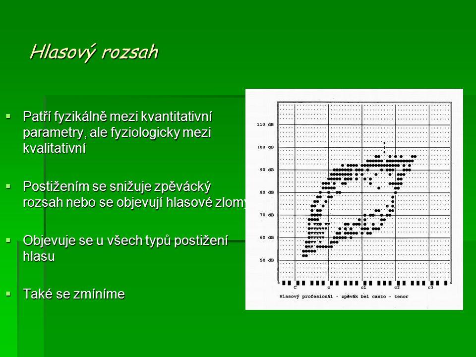 Hlasový rozsah  Patří fyzikálně mezi kvantitativní parametry, ale fyziologicky mezi kvalitativní  Postižením se snižuje zpěvácký rozsah nebo se objevují hlasové zlomy  Objevuje se u všech typů postižení hlasu  Také se zmíníme