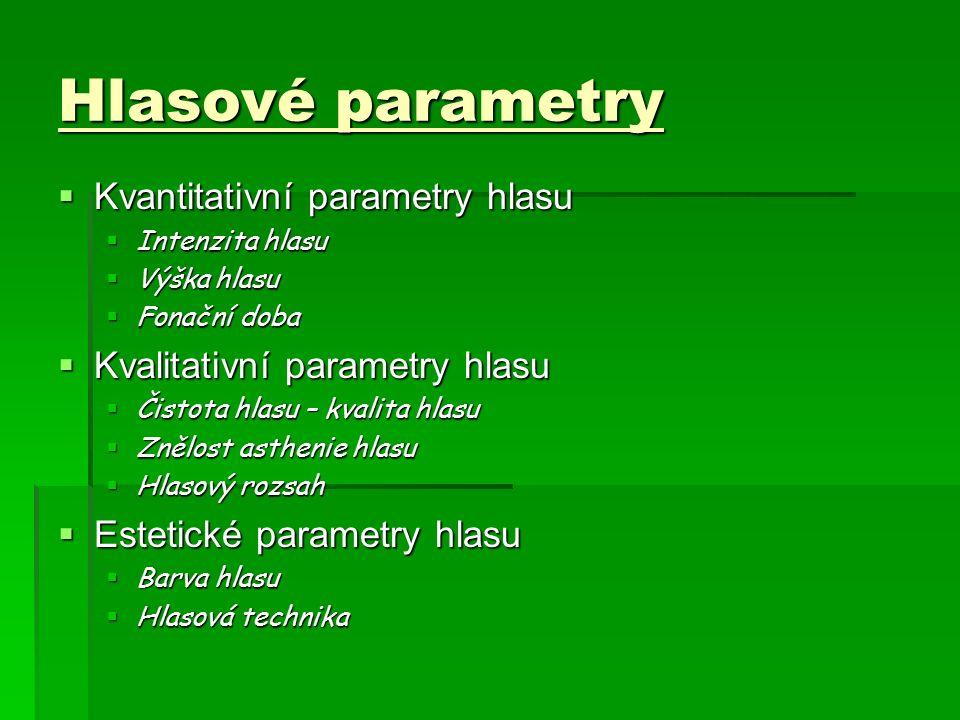 Hlasové parametry  Kvantitativní parametry hlasu  Intenzita hlasu  Výška hlasu  Fonační doba  Kvalitativní parametry hlasu  Čistota hlasu – kvalita hlasu  Znělost asthenie hlasu  Hlasový rozsah  Estetické parametry hlasu  Barva hlasu  Hlasová technika
