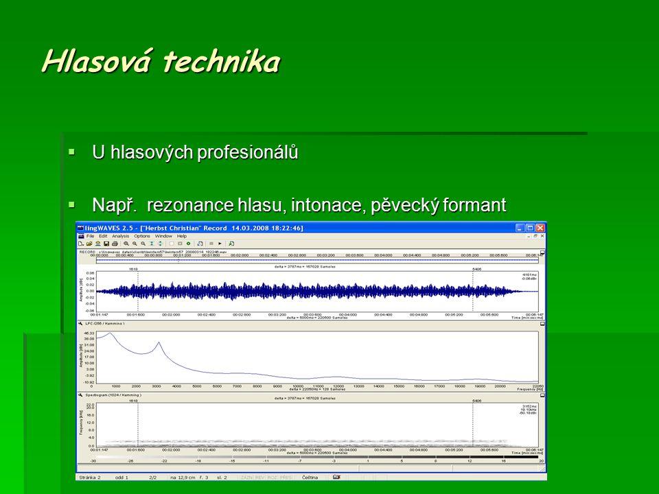 Hlasová technika  U hlasových profesionálů  Např. rezonance hlasu, intonace, pěvecký formant