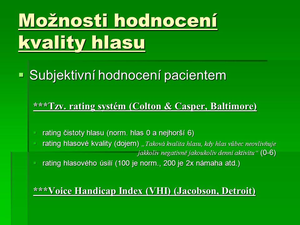 Možnosti hodnocení kvality hlasu  Subjektivní hodnocení pacientem ***Tzv. rating systém (Colton & Casper, Baltimore)  rating čistoty hlasu (norm. hl
