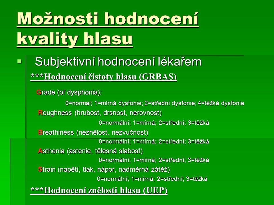Možnosti hodnocení kvality hlasu  Subjektivní hodnocení lékařem ***Hodnocení čistoty hlasu (GRBAS) Grade (of dysphonia): Grade (of dysphonia): 0=normal; 1=mírná dysfonie; 2=střední dysfonie; 4=těžká dysfonie 0=normal; 1=mírná dysfonie; 2=střední dysfonie; 4=těžká dysfonie Roughness (hrubost, drsnost, nerovnost) Roughness (hrubost, drsnost, nerovnost) 0=normální; 1=mírná; 2=střední; 3=těžká Breathiness (neznělost, nezvučnost) Breathiness (neznělost, nezvučnost) 0=normální; 1=mírná; 2=střední; 3=těžká Asthenia (astenie, tělesná slabost) Asthenia (astenie, tělesná slabost) 0=normální; 1=mírná; 2=střední; 3=těžká Strain (napětí, tlak, nápor, nadměrná zátěž) Strain (napětí, tlak, nápor, nadměrná zátěž) 0=normální; 1=mírná; 2=střední; 3=těžká 0=normální; 1=mírná; 2=střední; 3=těžká ***Hodnocení znělosti hlasu (UEP)