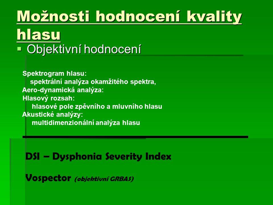 Možnosti hodnocení kvality hlasu  Objektivní hodnocení Spektrogram hlasu: spektrální analýza okamžitého spektra, Aero-dynamická analýza: Hlasový rozsah: hlasové pole zpěvního a mluvního hlasu Akustické analýzy: multidimenzionální analýza hlasu DSI – Dysphonia Severity Index Vospector (objektivní GRBAS)