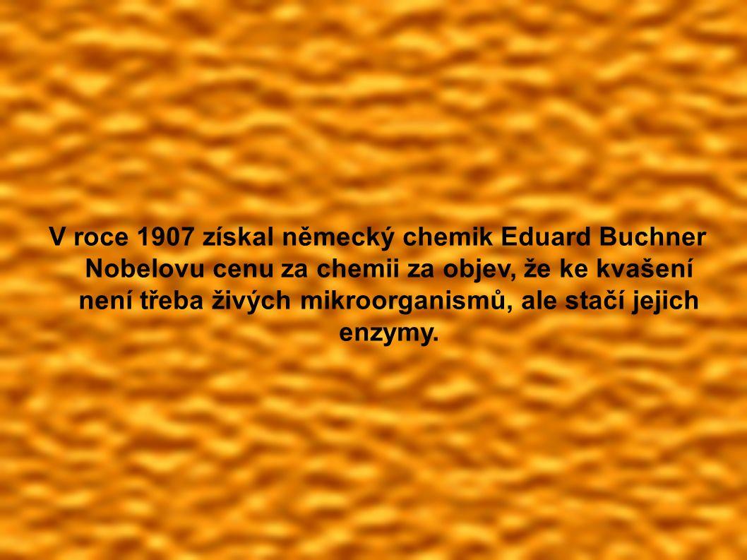 V roce 1907 získal německý chemik Eduard Buchner Nobelovu cenu za chemii za objev, že ke kvašení není třeba živých mikroorganismů, ale stačí jejich enzymy.