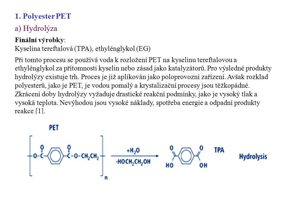 1. Polyester PET a) Hydrolýza Finální výrobky: Kyselina tereftalová (TPA), ethylénglykol (EG) Při tomto procesu se používá voda k rozložení PET na kys