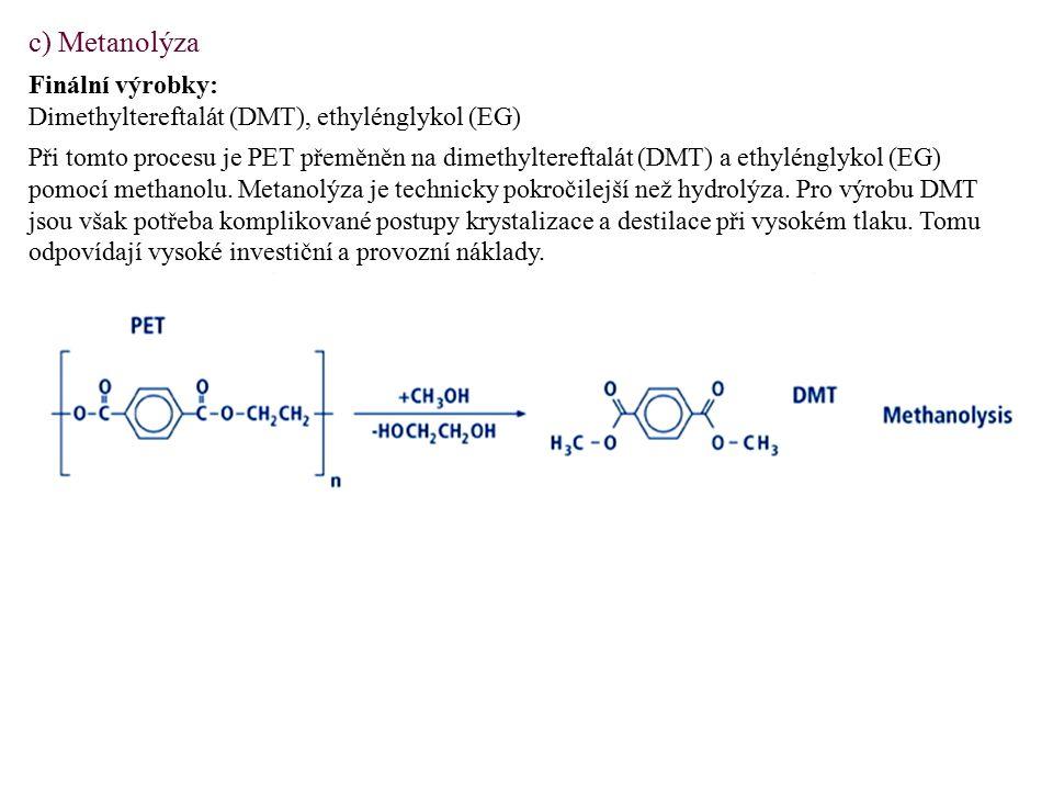 c) Metanolýza Finální výrobky: Dimethyltereftalát (DMT), ethylénglykol (EG) Při tomto procesu je PET přeměněn na dimethyltereftalát (DMT) a ethylénglykol (EG) pomocí methanolu.