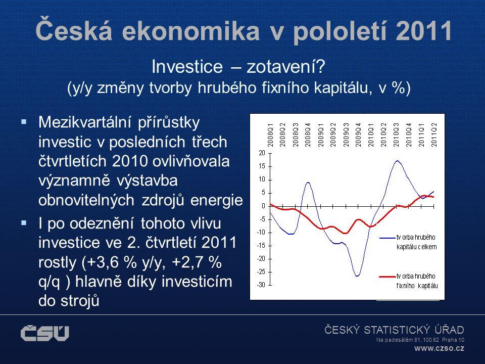 ČESKÝ STATISTICKÝ ÚŘAD Na padesátém 81, 100 82 Praha 10 www.czso.cz Česká ekonomika v pololetí 2011  Mezikvartální přírůstky investic v posledních třech čtvrtletích 2010 ovlivňovala významně výstavba obnovitelných zdrojů energie  I po odeznění tohoto vlivu investice ve 2.