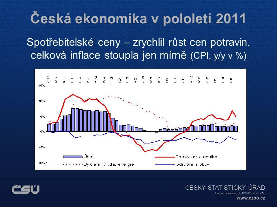 ČESKÝ STATISTICKÝ ÚŘAD Na padesátém 81, 100 82 Praha 10 www.czso.cz Česká ekonomika v pololetí 2011 Spotřebitelské ceny – zrychlil růst cen potravin, celková inflace stoupla jen mírně (CPI, y/y v %)