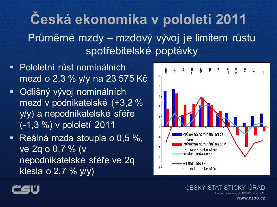 ČESKÝ STATISTICKÝ ÚŘAD Na padesátém 81, 100 82 Praha 10 www.czso.cz Česká ekonomika v pololetí 2011  Pololetní růst nominálních mezd o 2,3 % y/y na 23 575 Kč  Odlišný vývoj nominálních mezd v podnikatelské (+3,2 % y/y) a nepodnikatelské sféře (-1,3 %) v pololetí 2011  Reálná mzda stoupla o 0,5 %, ve 2q o 0,7 % (v nepodnikatelské sféře ve 2q klesla o 2,7 % y/y) Průměrné mzdy – mzdový vývoj je limitem růstu spotřebitelské poptávky