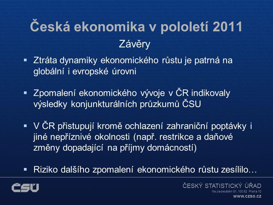 ČESKÝ STATISTICKÝ ÚŘAD Na padesátém 81, 100 82 Praha 10 www.czso.cz Česká ekonomika v pololetí 2011  Ztráta dynamiky ekonomického růstu je patrná na globální i evropské úrovni  Zpomalení ekonomického vývoje v ČR indikovaly výsledky konjunkturálních průzkumů ČSU  V ČR přistupují kromě ochlazení zahraniční poptávky i jiné nepříznivé okolnosti (např.