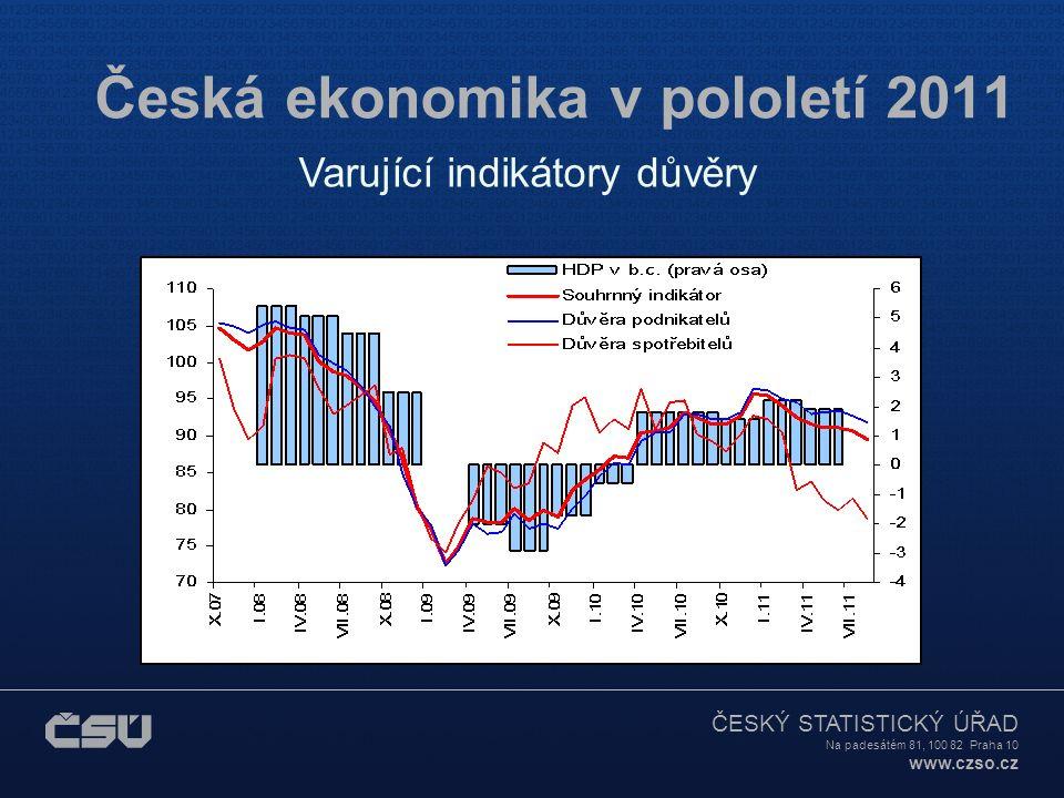 ČESKÝ STATISTICKÝ ÚŘAD Na padesátém 81, 100 82 Praha 10 www.czso.cz Česká ekonomika v pololetí 2011 Varující indikátory důvěry