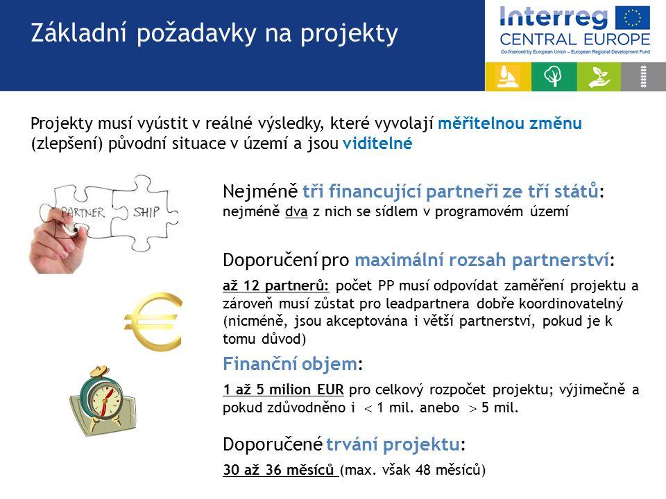 Nejméně tři financující partneři ze tří států: nejméně dva z nich se sídlem v programovém území Doporučení pro maximální rozsah partnerství: až 12 partnerů: počet PP musí odpovídat zaměření projektu a zároveň musí zůstat pro leadpartnera dobře koordinovatelný (nicméně, jsou akceptována i větší partnerství, pokud je k tomu důvod) Finanční objem: 1 až 5 milion EUR pro celkový rozpočet projektu; výjimečně a pokud zdůvodněno i  1 mil.