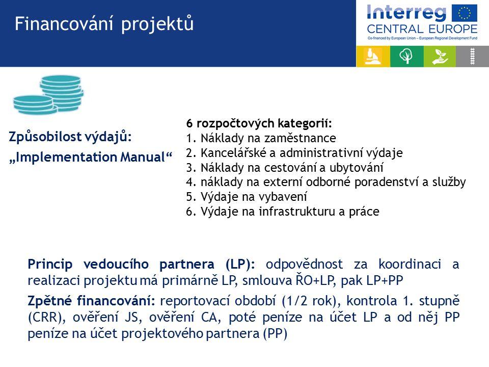 Financování projektů Princip vedoucího partnera (LP): odpovědnost za koordinaci a realizaci projektu má primárně LP, smlouva ŘO+LP, pak LP+PP Zpětné financování: reportovací období (1/2 rok), kontrola 1.