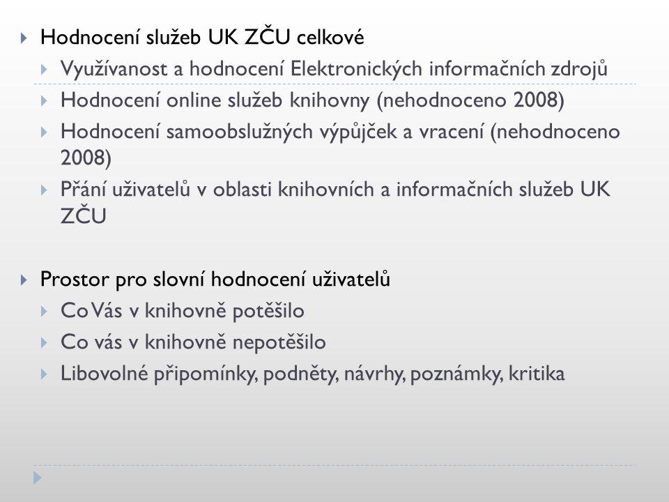  Hodnocení služeb UK ZČU celkové  Využívanost a hodnocení Elektronických informačních zdrojů  Hodnocení online služeb knihovny (nehodnoceno 2008) 