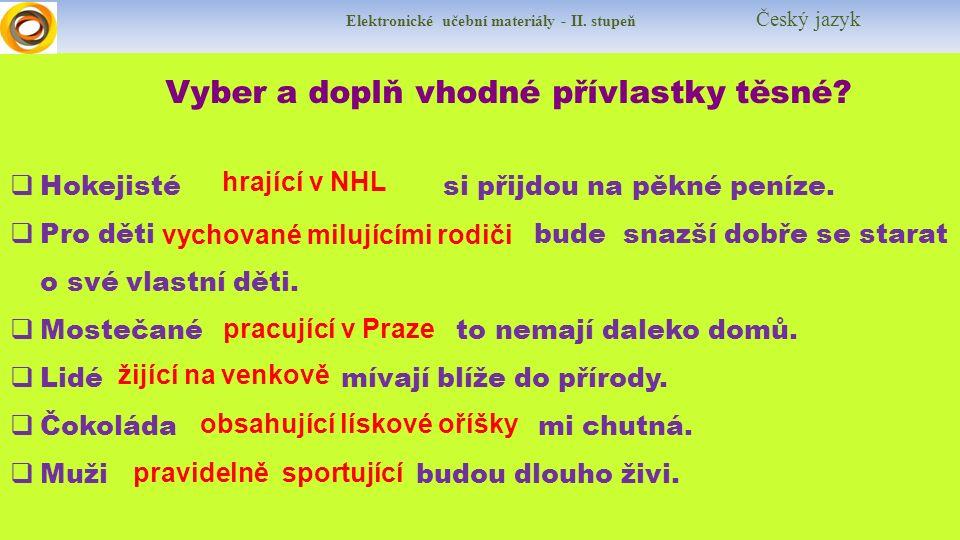 Elektronické učební materiály - II. stupeň Český jazyk Vyber a doplň vhodné přívlastky těsné.
