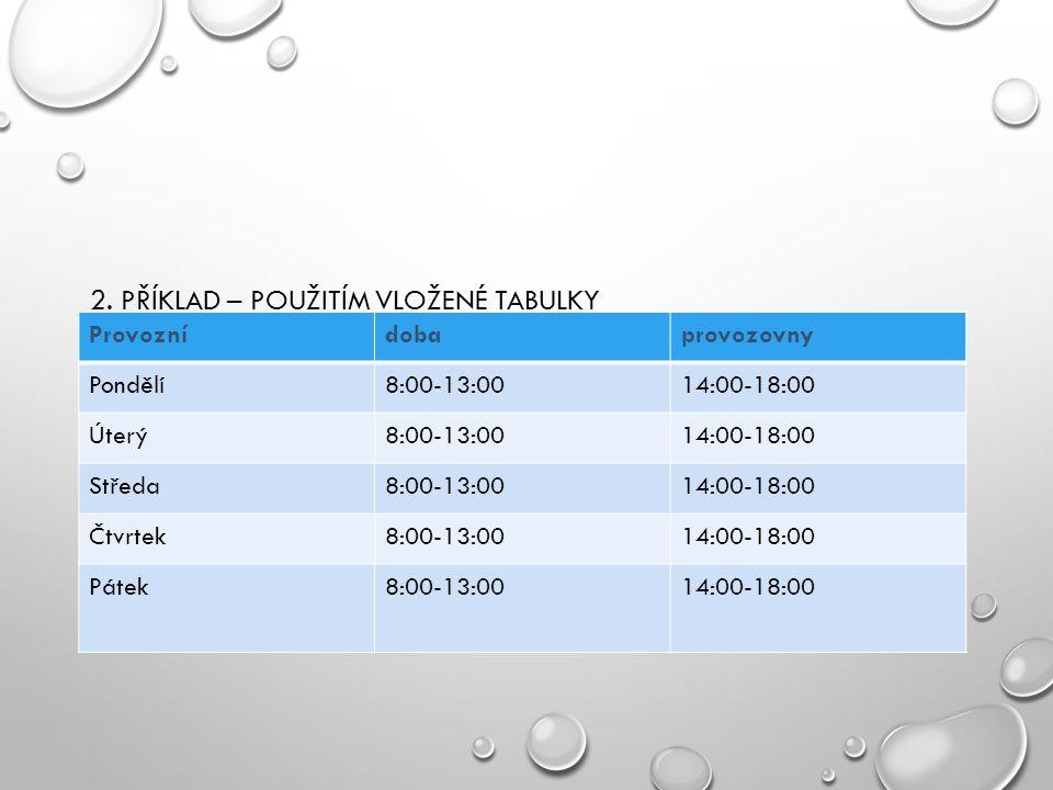 2. PŘÍKLAD – POUŽITÍM VLOŽENÉ TABULKY Provoznídobaprovozovny Pondělí8:00-13:0014:00-18:00 Úterý8:00-13:0014:00-18:00 Středa8:00-13:0014:00-18:00 Čtvrt