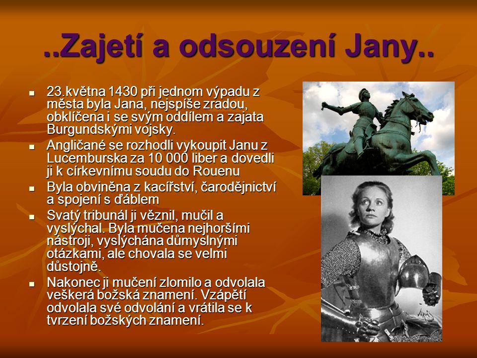 ..Zajetí a odsouzení Jany..