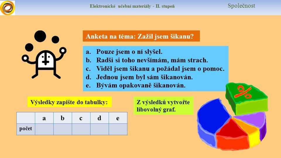 Elektronické učební materiály - II. stupeň Společnost Anketa na téma: Zažil jsem šikanu.