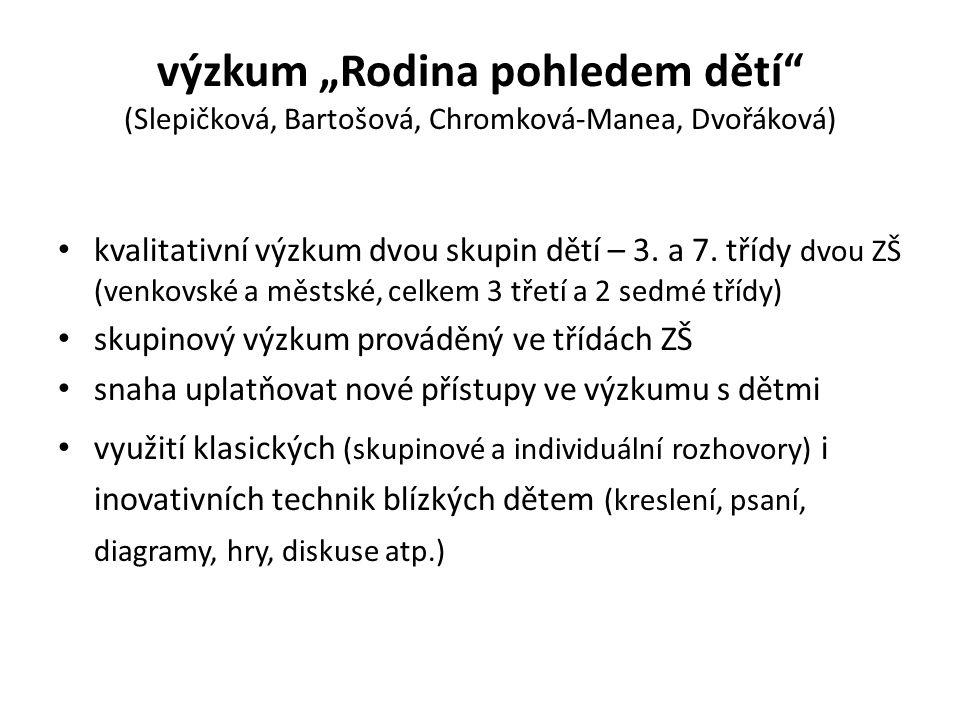 """výzkum """"Rodina pohledem dětí"""" (Slepičková, Bartošová, Chromková-Manea, Dvořáková) kvalitativní výzkum dvou skupin dětí – 3. a 7. třídy dvou ZŠ (venkov"""