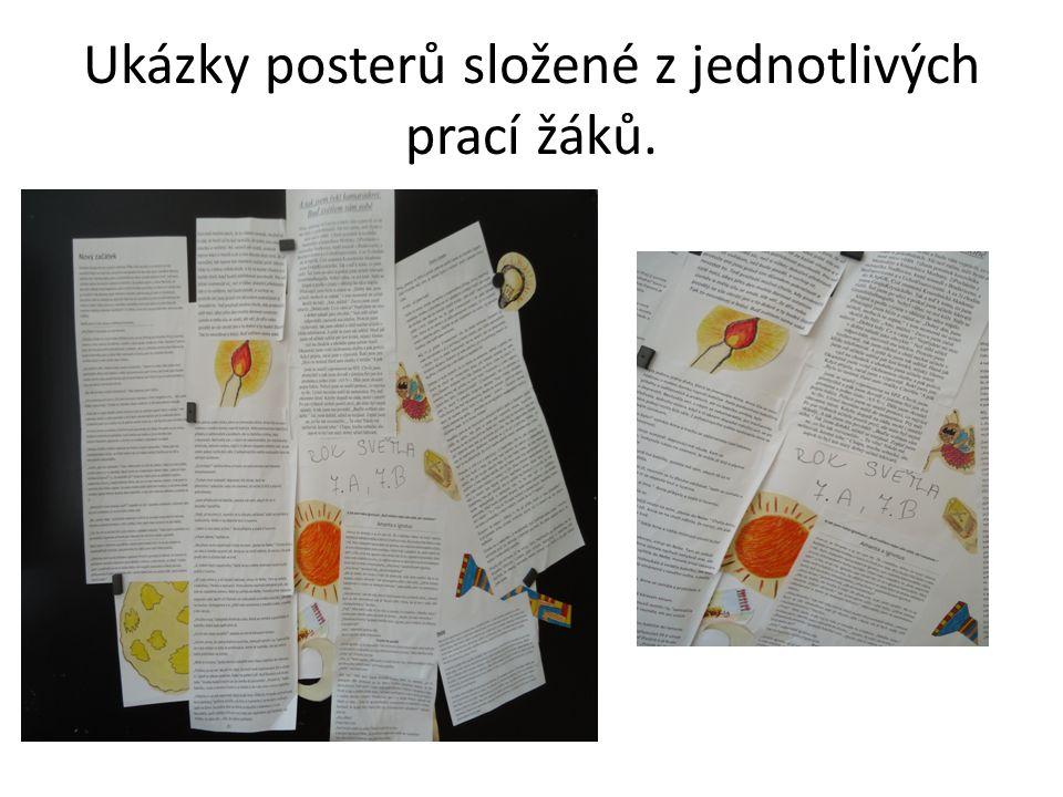 Ukázky posterů složené z jednotlivých prací žáků.