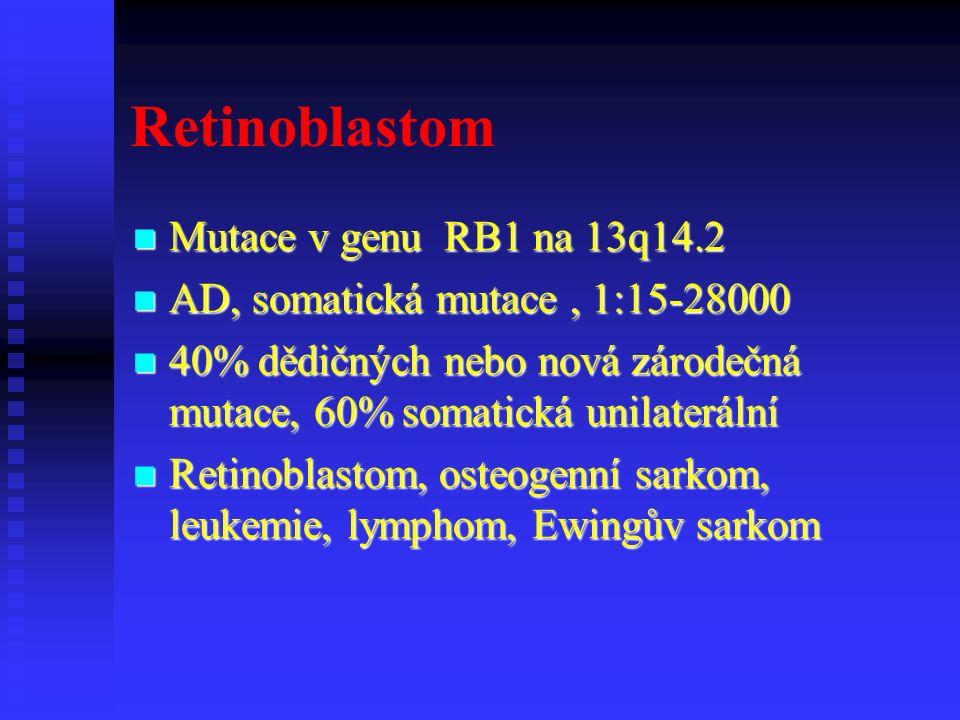 Retinoblastom Mutace v genu RB1 na 13q14.2 Mutace v genu RB1 na 13q14.2 AD, somatická mutace, 1:15-28000 AD, somatická mutace, 1:15-28000 40% dědičných nebo nová zárodečná mutace, 60% somatická unilaterální 40% dědičných nebo nová zárodečná mutace, 60% somatická unilaterální Retinoblastom, osteogenní sarkom, leukemie, lymphom, Ewingův sarkom Retinoblastom, osteogenní sarkom, leukemie, lymphom, Ewingův sarkom