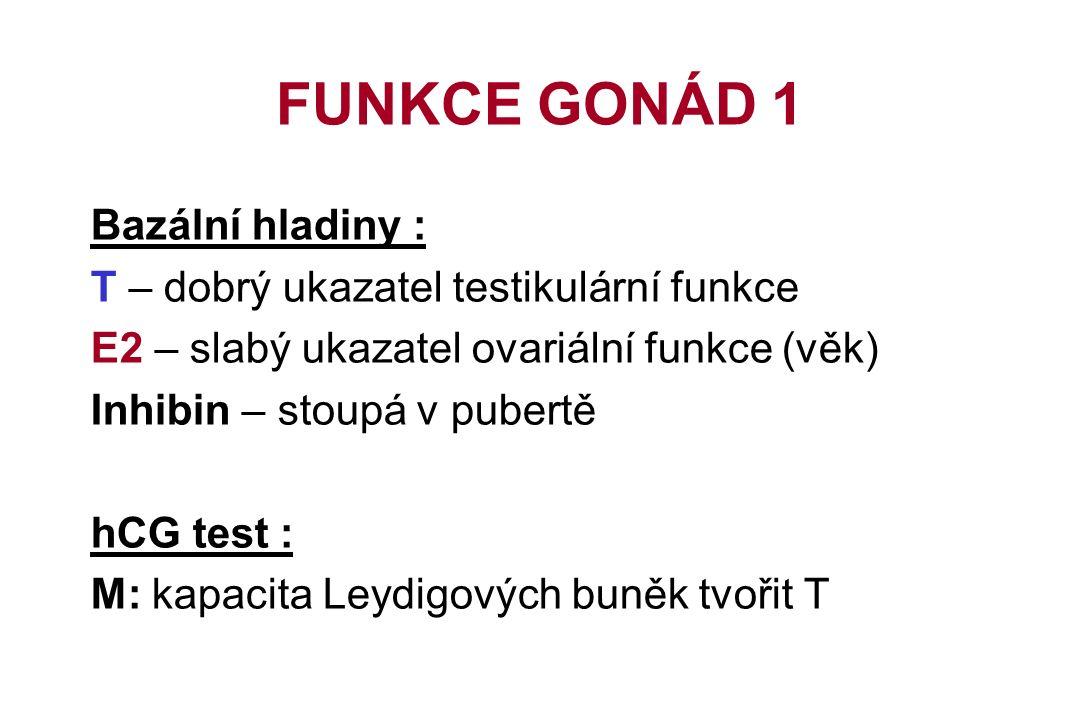 FUNKCE GONÁD 1 Bazální hladiny : T – dobrý ukazatel testikulární funkce E2 – slabý ukazatel ovariální funkce (věk) Inhibin – stoupá v pubertě hCG test : M: kapacita Leydigových buněk tvořit T
