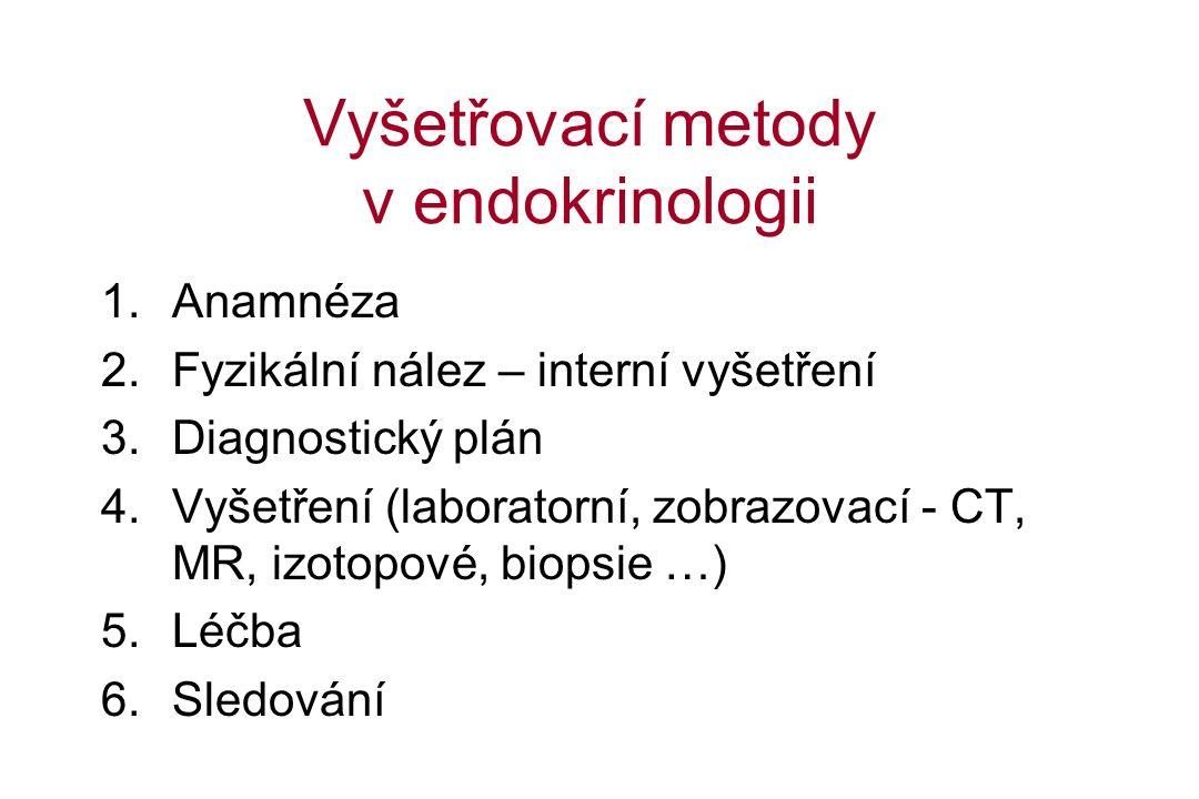 Vyšetřovací metody v endokrinologii 1.Anamnéza 2.Fyzikální nález – interní vyšetření 3.Diagnostický plán 4.Vyšetření (laboratorní, zobrazovací - CT, MR, izotopové, biopsie …) 5.Léčba 6.Sledování
