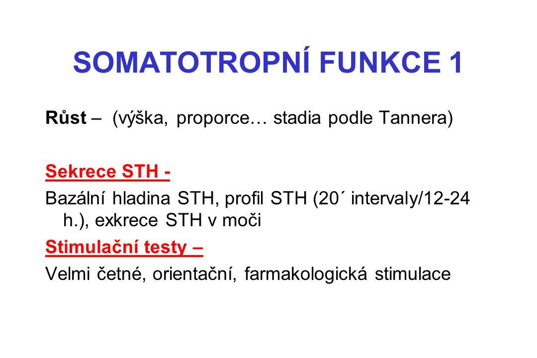SOMATOTROPNÍ FUNKCE 1 Růst – (výška, proporce… stadia podle Tannera) Sekrece STH - Bazální hladina STH, profil STH (20´ intervaly/12-24 h.), exkrece STH v moči Stimulační testy – Velmi četné, orientační, farmakologická stimulace