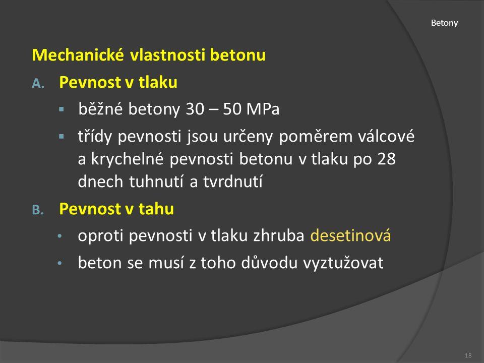 Betony Mechanické vlastnosti betonu A.