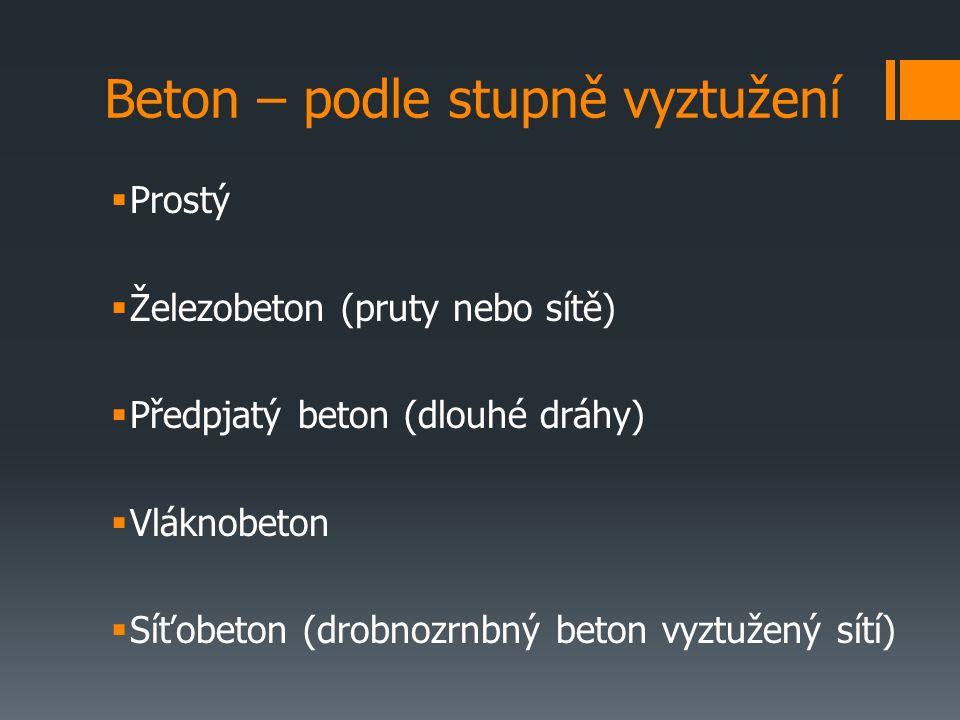 Beton – podle stupně vyztužení  Prostý  Železobeton (pruty nebo sítě)  Předpjatý beton (dlouhé dráhy)  Vláknobeton  Síťobeton (drobnozrnbný beton vyztužený sítí)