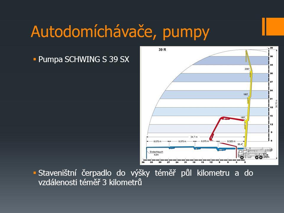  Pumpa SCHWING S 39 SX  Staveništní čerpadlo do výšky téměř půl kilometru a do vzdálenosti téměř 3 kilometrů