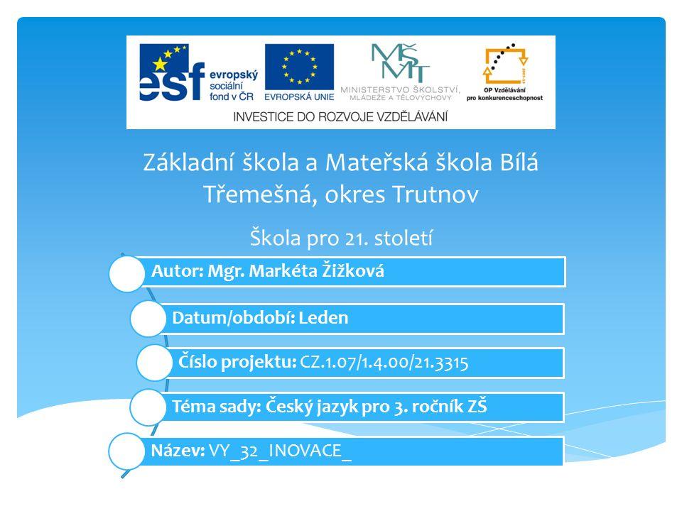 Inovativní pomůcka k výuce českého jazyka ve 3.třídě základní školy.