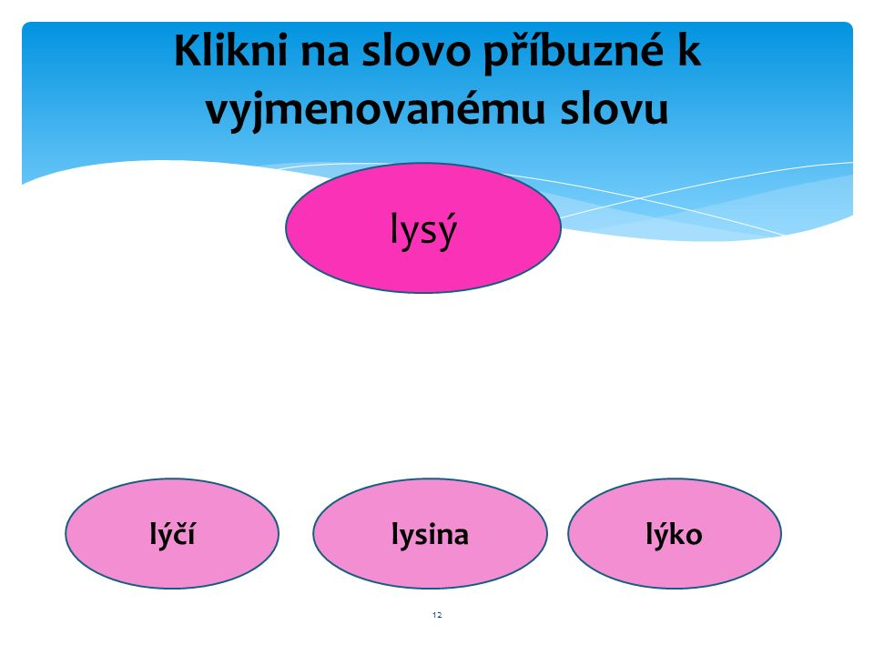 12 Klikni na slovo příbuzné k vyjmenovanému slovu lysý lýčílysinalýko