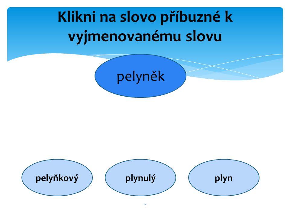 14 Klikni na slovo příbuzné k vyjmenovanému slovu pelyněk pelyňkovýplynulýplyn