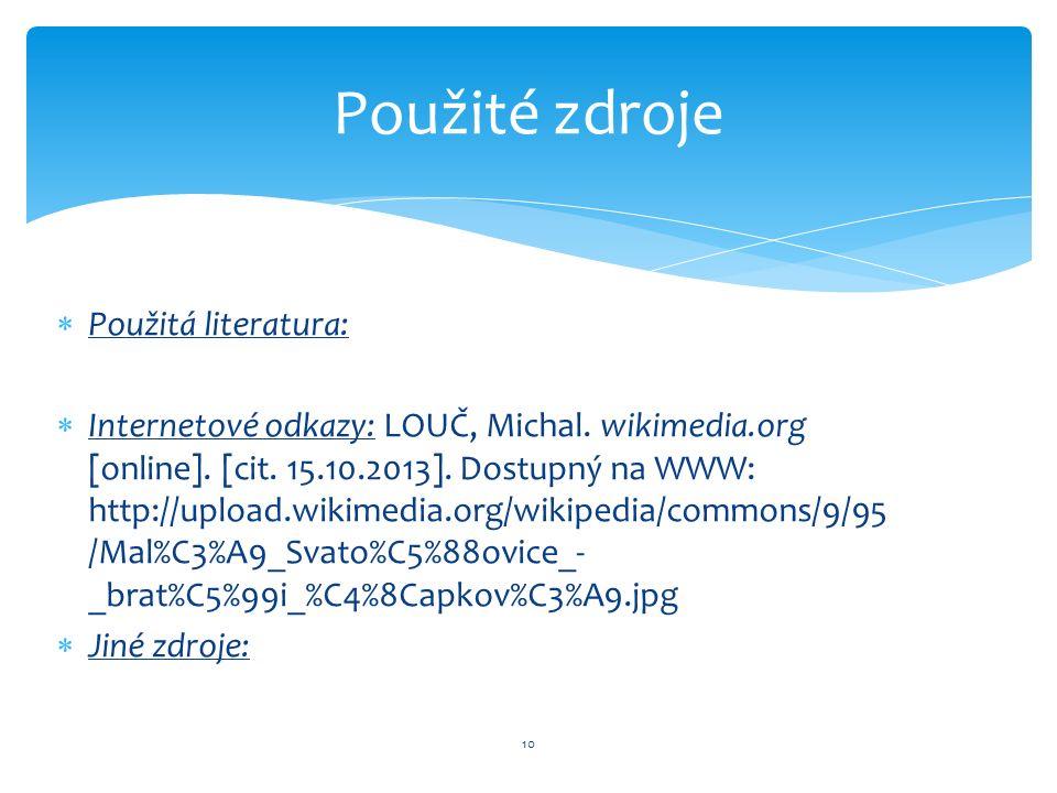  Použitá literatura:  Internetové odkazy: LOUČ, Michal.
