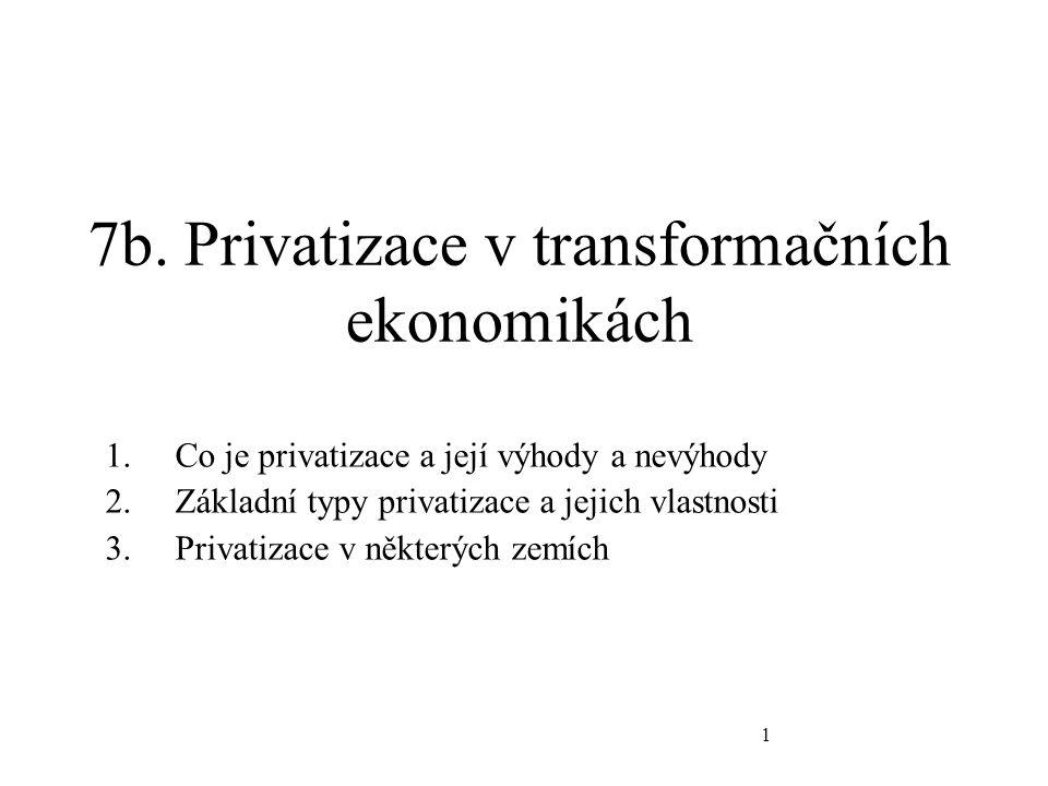 1 7b. Privatizace v transformačních ekonomikách 1.Co je privatizace a její výhody a nevýhody 2.Základní typy privatizace a jejich vlastnosti 3.Privati