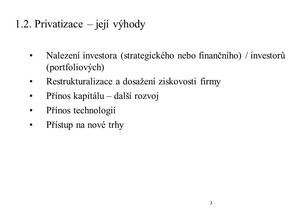 3 1.2. Privatizace – její výhody Nalezení investora (strategického nebo finančního) / investorů (portfoliových) Restrukturalizace a dosažení ziskovost