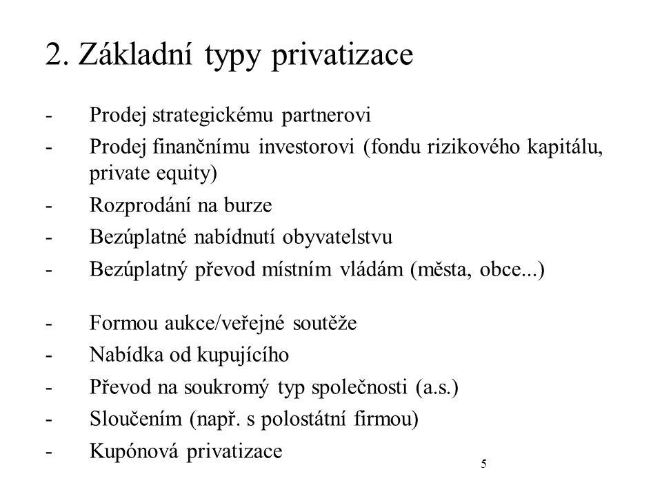 5 2. Základní typy privatizace -Prodej strategickému partnerovi -Prodej finančnímu investorovi (fondu rizikového kapitálu, private equity) -Rozprodání