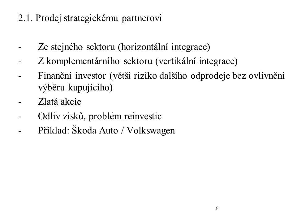 6 2.1. Prodej strategickému partnerovi -Ze stejného sektoru (horizontální integrace) -Z komplementárního sektoru (vertikální integrace) -Finanční inve