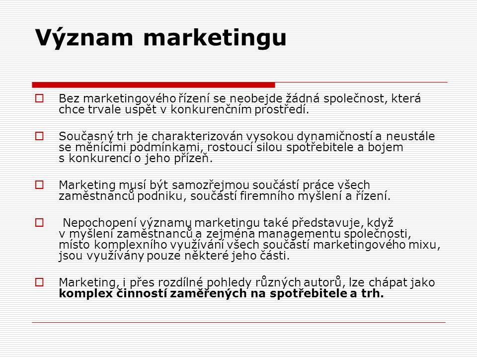 Význam marketingu  Bez marketingového řízení se neobejde žádná společnost, která chce trvale uspět v konkurenčním prostředí.