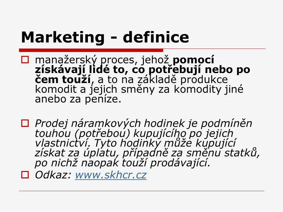 Marketing - definice  manažerský proces, jehož pomocí získávají lidé to, co potřebují nebo po čem touží, a to na základě produkce komodit a jejich směny za komodity jiné anebo za peníze.